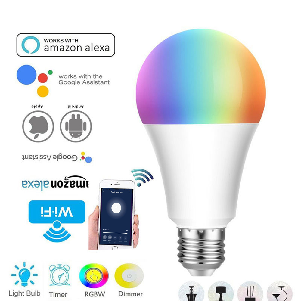 E27/B22/E26/E14 Smart Bulb RGB LED WiFi Light Lamp For Android Apple Remote Control Home