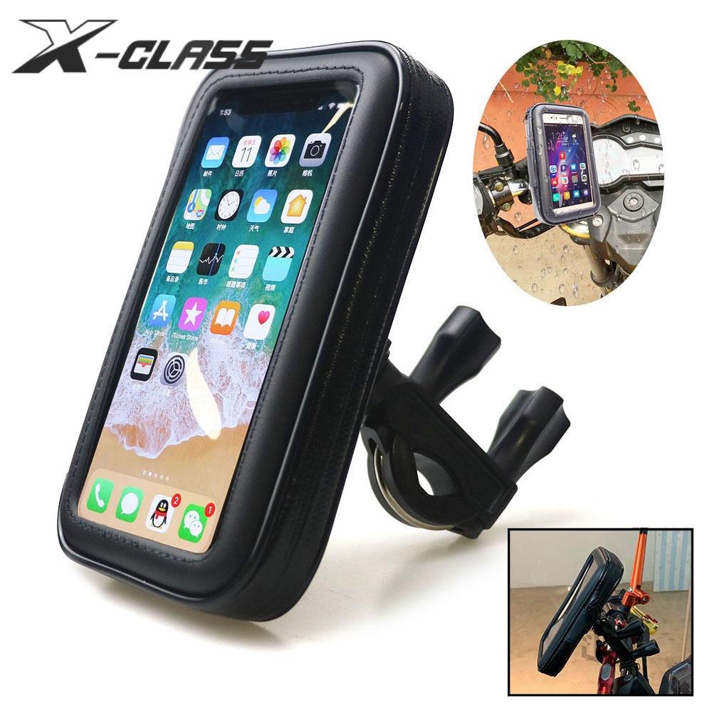 Universal Motorcycle Handlebar Phone GPS Holder Pocket Waterproof PU Leather Accessories For Harley Kawasaki Vespa BMW Yamaha
