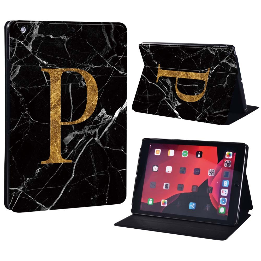 letter P on black Ivory For Apple iPad 8 10 2 2020 8th 8 Generation A2428 A2429 Printing initia letters PU