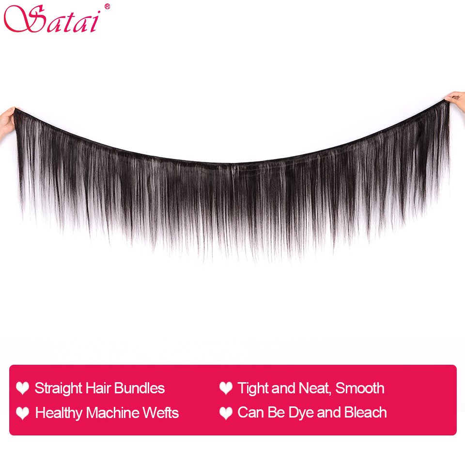 Image 2 - SATAI Straight Hair Human Hair Bundles with Closure Mongolian Hair 3 Bundles With Closure Natural Color Non Remy Hair Extension-in 3/4 Bundles with Closure from Hair Extensions & Wigs