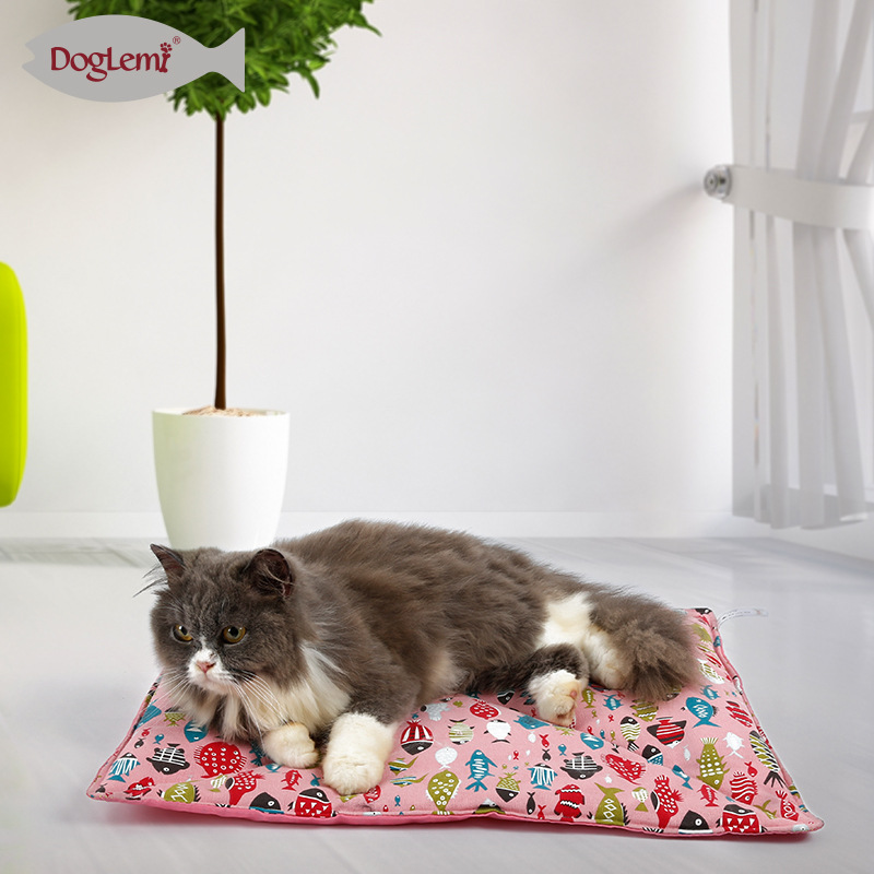 Dole M New Products Spring And Summer Dual Purpose Cat Coaster Fishfine Pattern Pure Hemp Cotton Puppy Kitten Pet Mattress