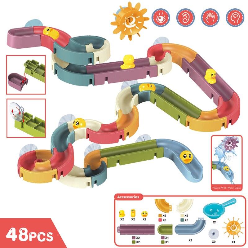 Bath Toys Baby Bathroom Duck DIY Track Bathtub Kids Play Water Games Tool Bathing Shower Wall Suction Set Bath Toy for Children