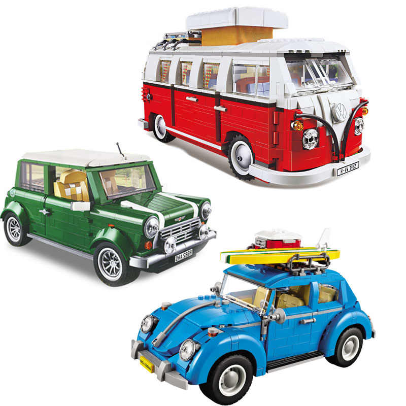 London Bus T1 Camper / Beetle Auto/Cooper Compatibel Technic Bouwstenen Bricks Speelgoed 10220 10252 10242 10258