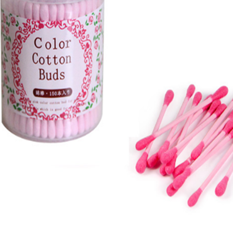 150pcs Pink Disposable Cotton Swab Health Make Up Beauty Double Head Ended Clean Cotton Buds Medical Ear Clean Tools