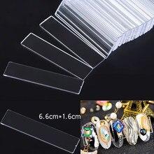 Présentoir rectangulaire pour ongles en acrylique transparent, 10 pièces, bandes adhésives Double face, outil d'étagère de présentation TD23232