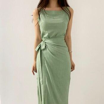 Elegante vestido veraniego verde, estilo coreano, por debajo de la rodilla, con cuello cuadrado, cintura alta y escote, informal para mujer