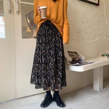 цена на 2020 Fashion Summer High Waist Chiffon Women Midi Skirts Casual Floral Print Female Maxi Beach Skirt