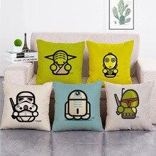 Star Wars Master Yoda Darth Vader Stormtrooper Cartoon Linen Pillowcase  Anime Figure Toys Square Pillowcas Pillow Cover Case