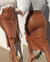 Женская модная пикантная облегающая юбка из искусственной кожи
