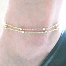 Gold Silver Chic Concise Double Layer Bridal Wedding Anklets Chain Charm Beads Leg Bracelet Anklet Foot Jewelry For Women chic solid color double layer anklet for women