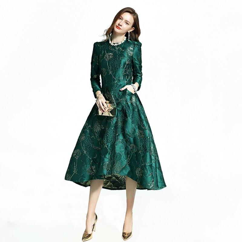 Robes femmes mode à manches longues automne hiver robe fête Floral élégant Jacquard dame célébrité inspiré robe de queue d'hirondelle
