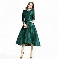 Vestidos Women Fashion Long Sleeve Autumn Winter Dress Party Floral Elegant Jacquard Lady Celebrity inspired swallow tail Dress