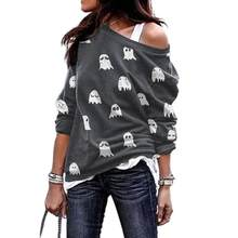 Women Sexy Off Shoulder Sweatshirt Slash Neck Long Sleeve Fashion Casual Loose Funny White Ghost Pattern Print Ladies Outerwear(China)