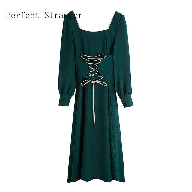 2020 Autumn New Arrival High Quality Retro Square Collar Bandage Long Sleeve Women Long Dress 2