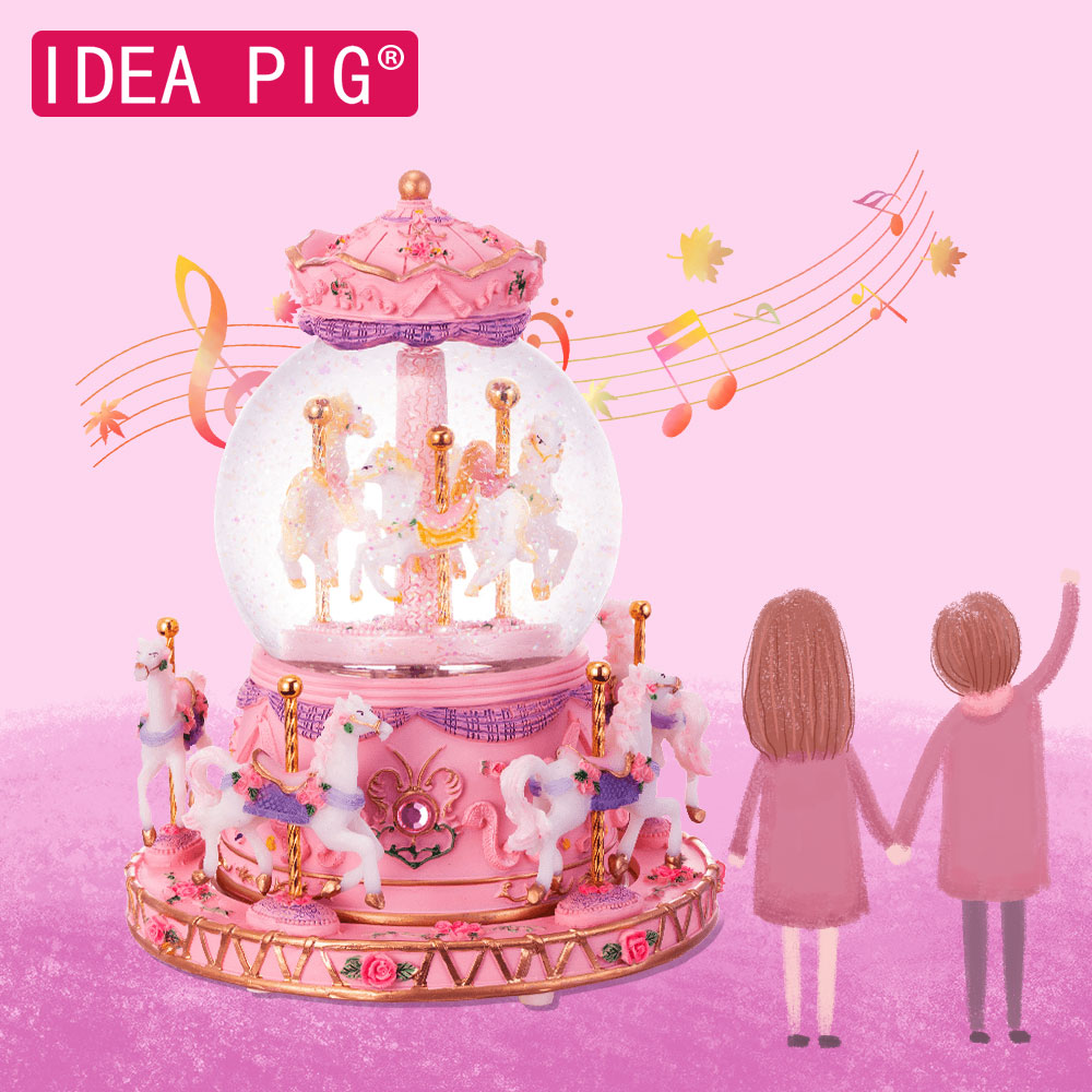 Boîte à musique boule à neige décoration de mariage fête d'anniversaire cadeau noël cheval boîte de carrousel décoration de la maison accessoires bricolage décor