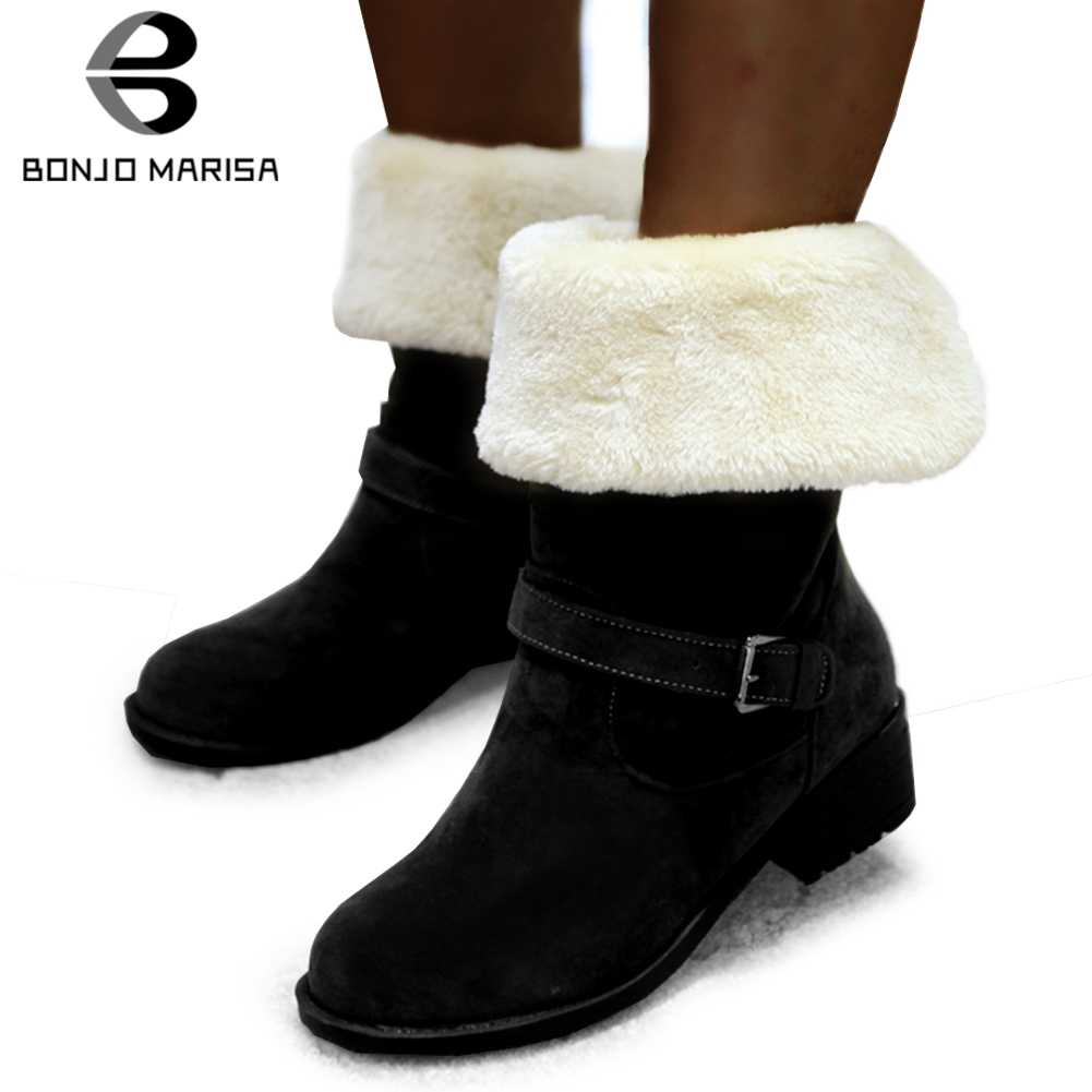 Bonjomarisa Mùa Đông Mới Bán 34-43 Lông Ấm Áp Giày Nữ Thanh Lịch Cổ Chân Ủng Nữ 2020 Thường Ngày Med gót Giày Người Phụ Nữ