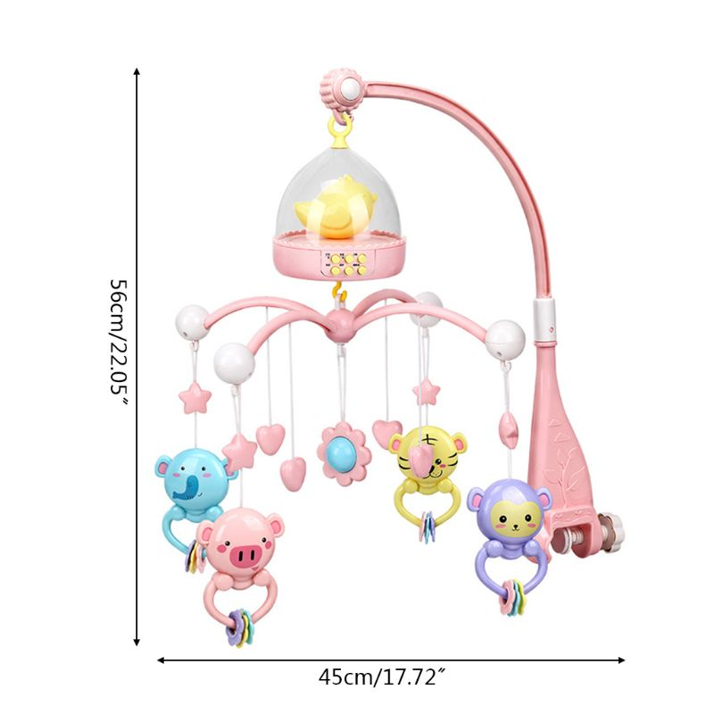 Baby Musical Crib Bed Cot Mobile Flash Nusery Lullaby Remote Control Toys  ~