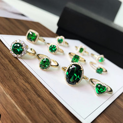 AAA vert zircone cercle ovale carré Triangle forme géométrique pierres précieuses anneaux pour fête dames anniversaire luxe diamant anneau