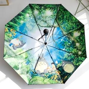 Image 5 - Miyazaki Hayao Anime Totoro Automatic Rain Sun Umbrella For Women Portable 3 fold UV Umbrela Cartoon Parasol Ghibli Studio