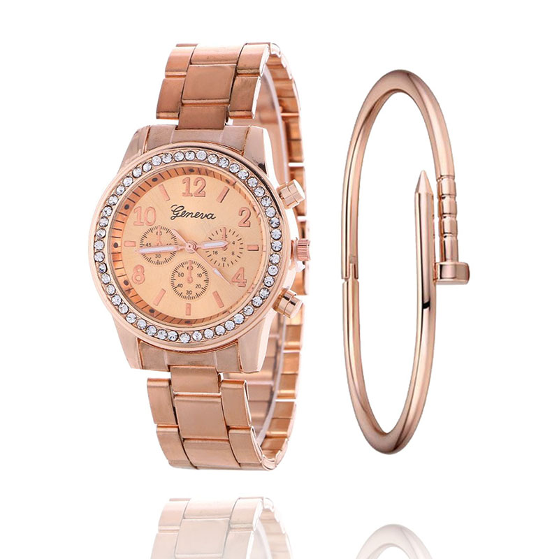 2019 Fashion Dress Watches Women Men Faux Chronograph Quartz Plated Classic Round Crystals Watch relogio masculino Casual Clock