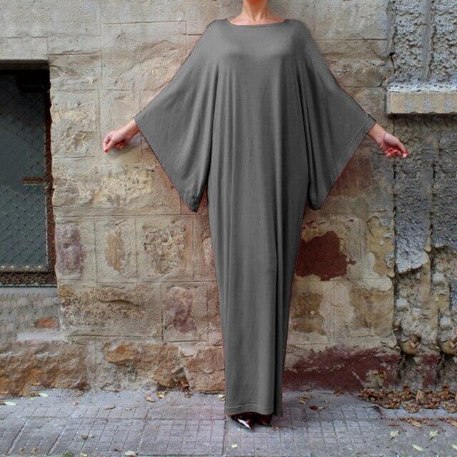 Plus Size muslim clothes Super elastic middle East religion apparel Summer Floor Length long dress Loose Muslim dress  women 2