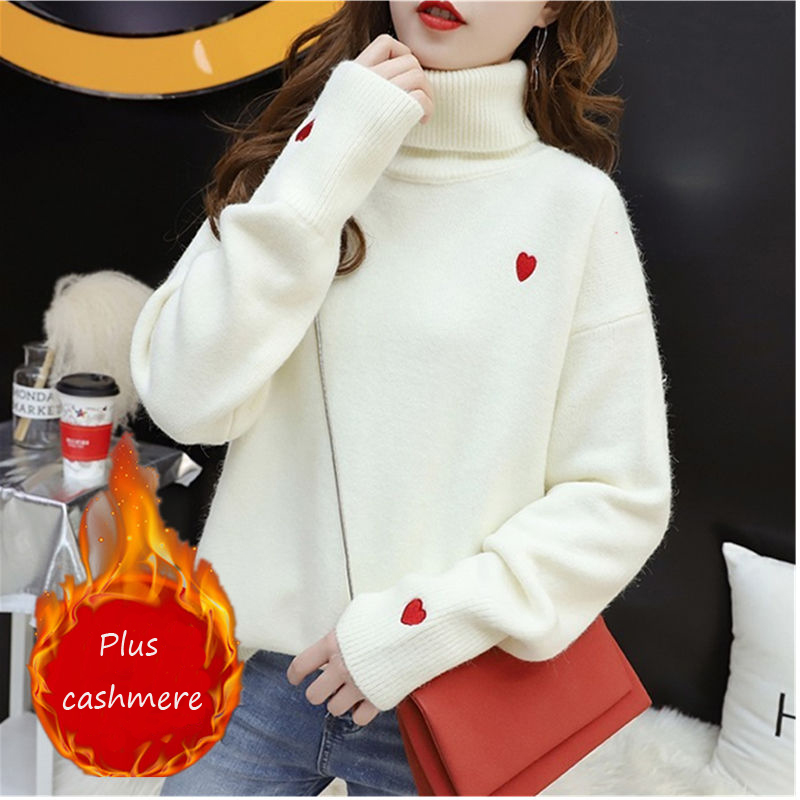 EACHIN  Women Winter Plus Cashmere Warm Turtleneck Sweaters Fashion Loose Long Sleeve Elastic Knitted Embroidery Pullover Tops
