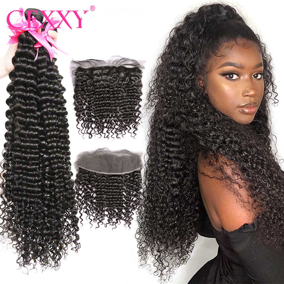 Curly Bundles With Frontal Brazilian Human Hair Weave Bundles With 13x4 Frontal Swiss Lace Deep Wave Human Hair Extension