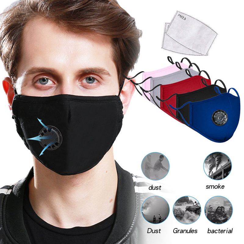 Mouth Mask Washable Reusable /Anti Pollution PM2.5 Anti-Dust Respirator Masks Cotton Unisex Mouth Muffle For Allergy/Asthma