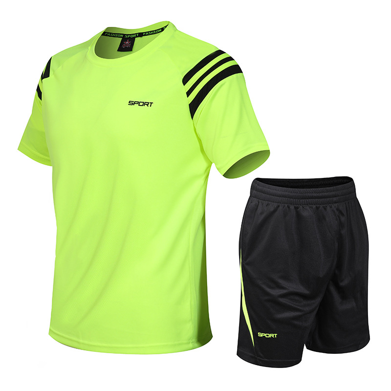 Summer Leisure Sports Suit Men's Teenager Sports Fitness Running Quick-Dry Sports Clothing Two-Piece Set