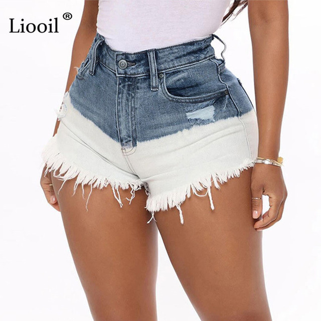 Liooil Patchwork Hole High Waisted Ripped Short Jeans with Tassel Women 2021 Button Zipper Pockets Washed Distressed Sexy Shorts 1