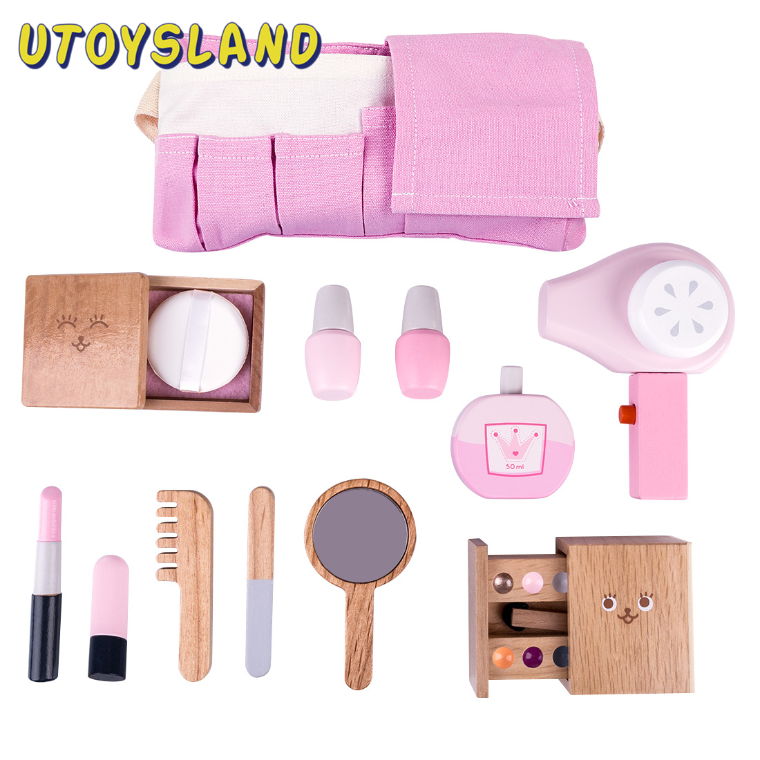 12Pcs Children Wooden Makeup Pretend Play Set Simulation Hair Dryer Toys Role Playing Game Educational Toys Gift For Children