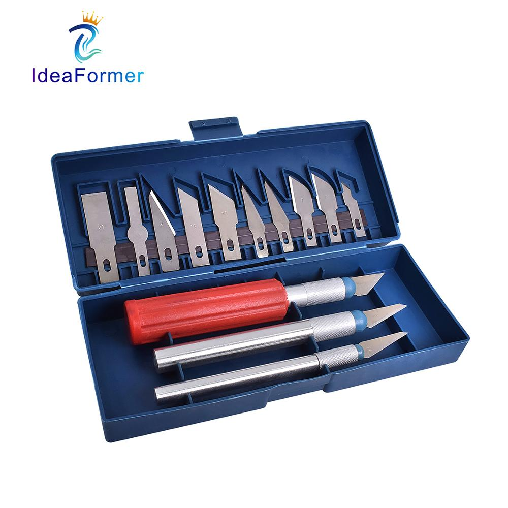 13Pcs/Set Non-Slip Metal Carving Tool Kit 3 Engraving Knifes+10 Blades For 3D Print DIY Model Trimming&Material Removal&Clean-up