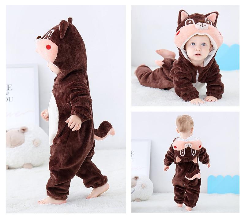 H35dc316c41964972b9f0d6f45b9a7b357 Cute Cartoon Flannel Baby Rompers Novelty Rabbit Cotton Baby Boys Girls Animal Rompers Stitch Baby's Sets kigurumi New born 2019