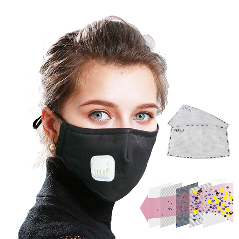 Reusable Washable N95 Face Mask Mouth Masks Anti Dust Pollution Cotton Activated Carbon Filter Valve PM2.5 Respirator Windproof