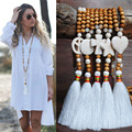 New Handmade Wooden Bead Ethnic Style Sweater Chain Female Long White Line Tassel Necklace Turquoise And Flat Standard Pendant