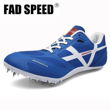 Męskie buty lekkoatletyczne damskie kolce trampki Spike Running Sprint buty lekkie miękkie wygodne profesjonalne buty sportowe tanie i dobre opinie FAD SPEED Cotton Fabric Do użytku na trawie na zewnątrz wodoodporne Średnia (B M) RUBBER FORMOTION Sznurowane Spring2019