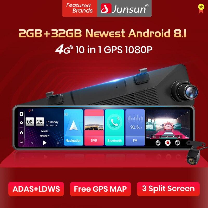 Junsun A103 voiture DVR caméra Android 8.1 2GB + 32GB flux rétroviseur 12 ''IPS 1080P enregistreur Code: MNOGO($129.87-$12.99)