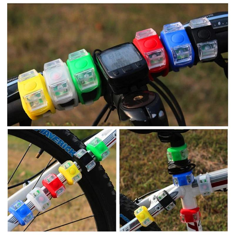 1 pcs Wholesale Silicone Bike Bicycle Cycling Head Front Rear Wheel LED Strobe Taillight Flash Light Lamp Hot Selling ARE4 New