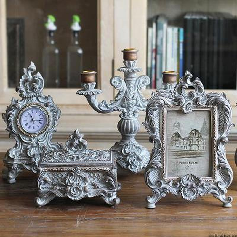 Carved Photo Frame Wall Art Picture Frames Clock for Living Room Cosmetic Case Candlestick Standing Home Wedding Decoration
