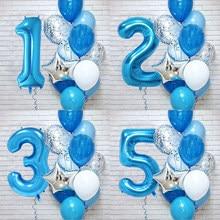 12 sztuk/zestaw niebieska cyfra z foliowych lateksowych balonów dla dzieci dekoracja urodzinowa 1 rok solenizant Decor Baby Shower Balloon