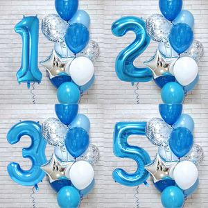 12Pcs/set Blue Number Foil Latex Balloons for Kids Birthday Party Decoration 1st One Year Birthday Boy Decor Baby Shower Balloon