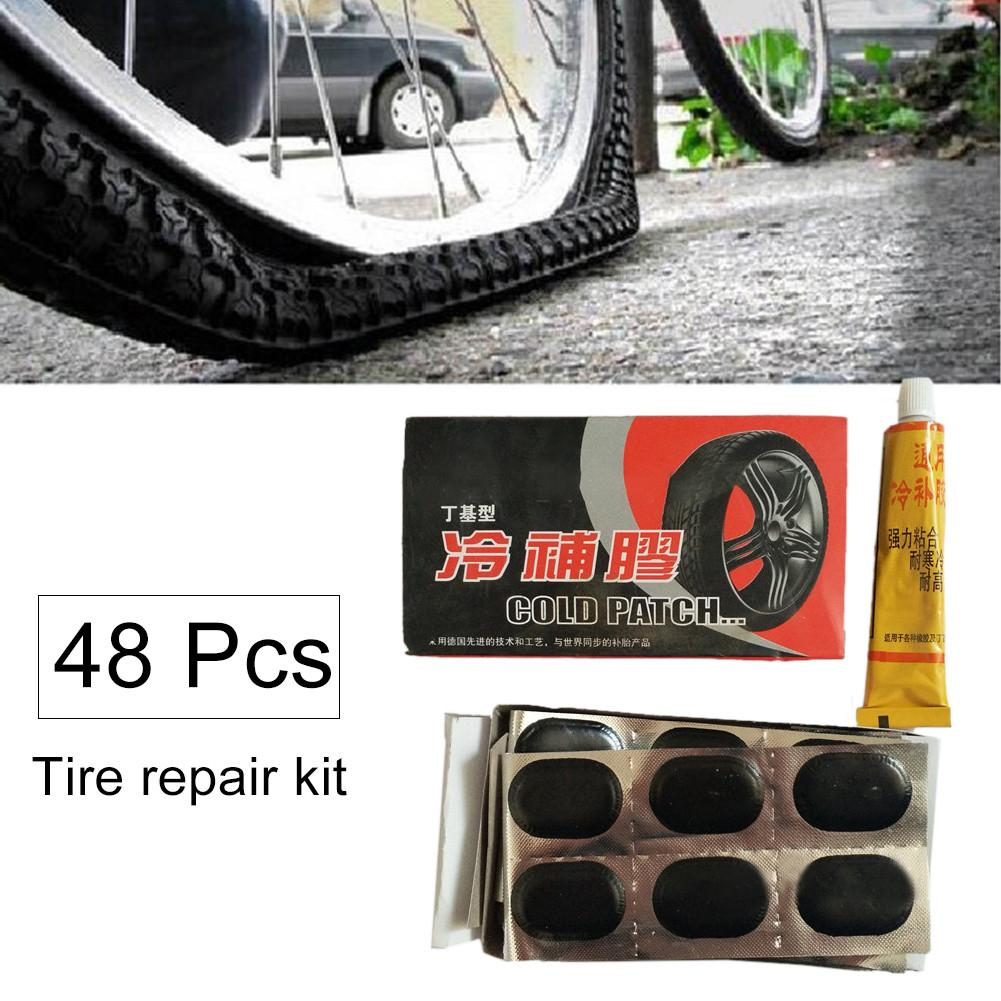 Bike Pump Valve Adapter Connector+48 Bicycle Tire Inner Tube Repair Patches