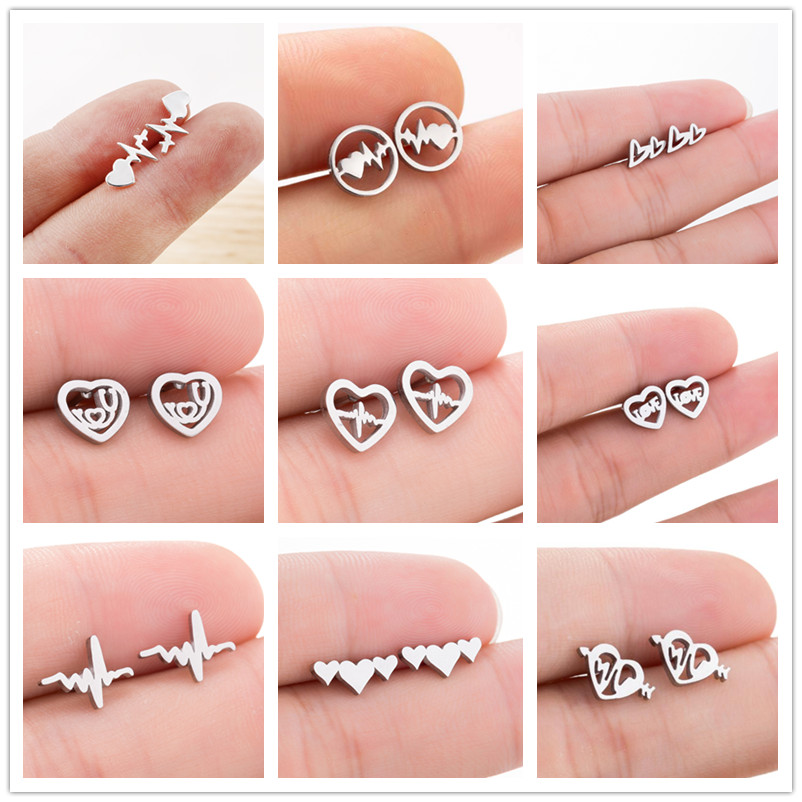 Lovers Dating Medical ECG Heartbeat Stud Earrings for Women Nurse Stainless Steel Jewelry Heart Earrings(China)