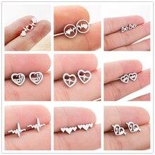 Lovers Dating Medical ECG Heartbeat Stud Earrings for Women Nurse Stainless Steel  Jewelry Heart Earrings татуировка переводная heartbeat