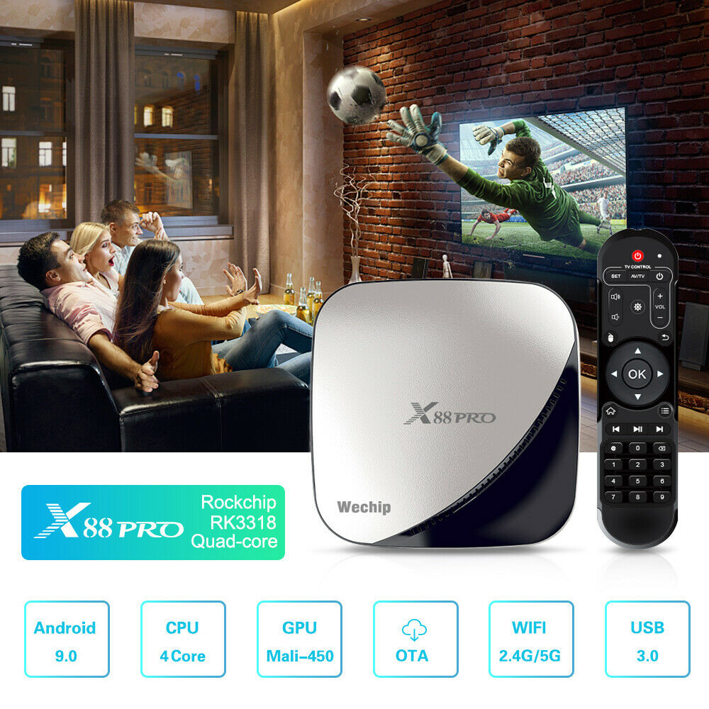 X88 Pro TV Box 4G 64G Android 9.0 TV Box Rockchip RK3318 4 Core 2.4G&5G Wifi 4K HDR Set Top Box USB 3.0 Support 3D Movie