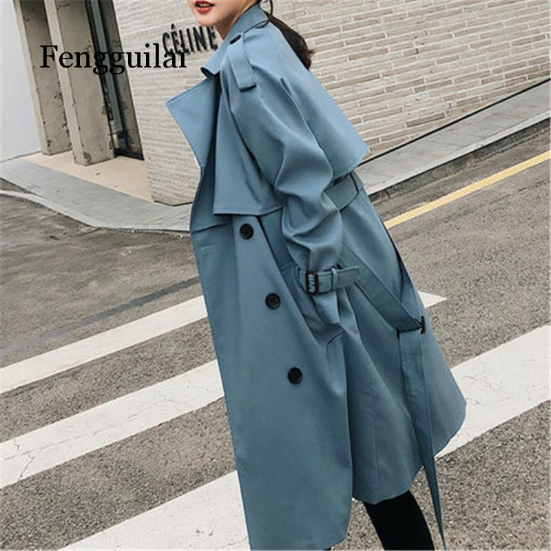 Windbreaker Female 2019 Spring Autumn new Korean leisure chic loose ladies harbor wind Long   Trench   Coat for women blue