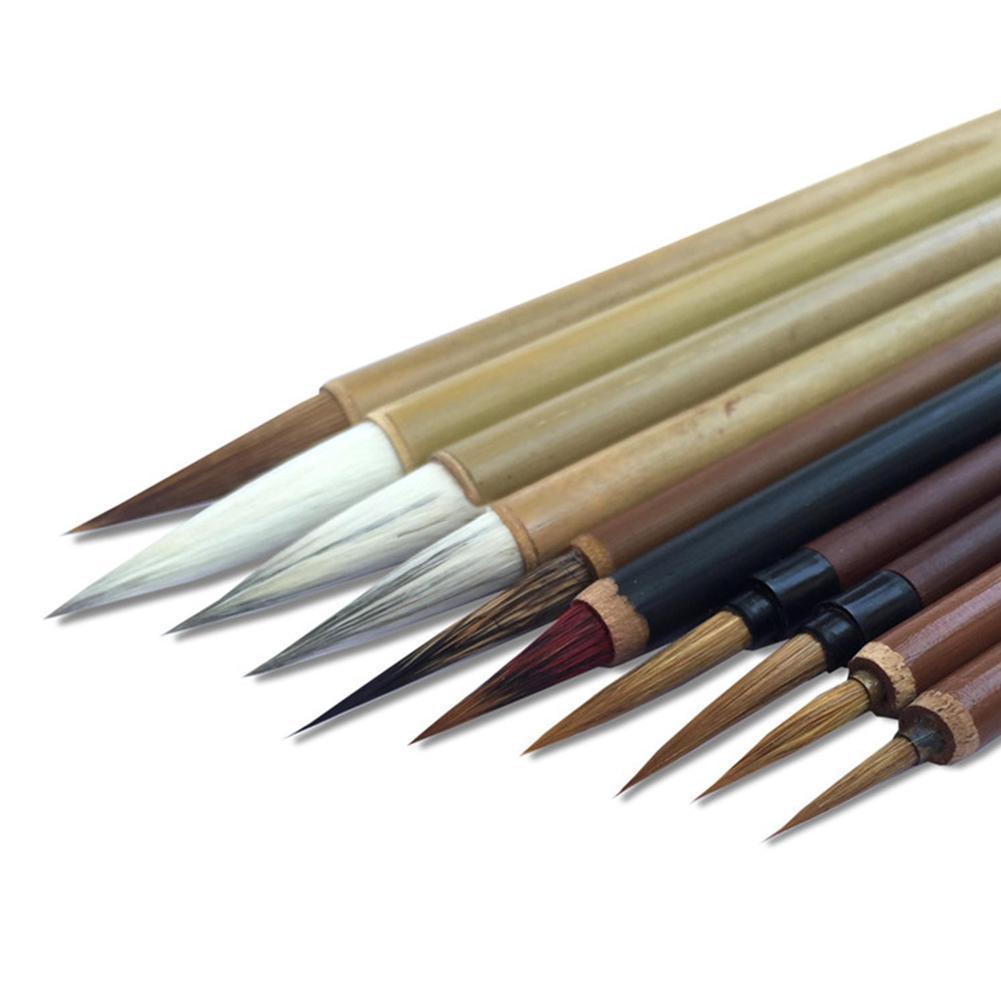 1set (10pcs Brush +1pc Pen Curtain) Chinese Bamboo Calligraphy Tool Set Brush Writing Art Calligraphy Brushes Supplies Ink N7E7