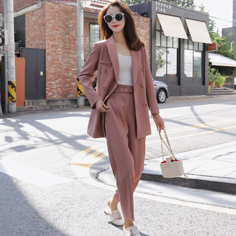High Quality Vintage Women's Pants Suit Autumn Double-breasted Office Ladies Suit Slim High Waist Trousers Set Of Two 2019 New