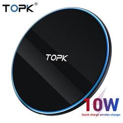 TOPK B02W 10 Вт Беспроводное зарядное устройство светодиодный портативный универсальный быстрый беспроводной телефон зарядное устройство для ...