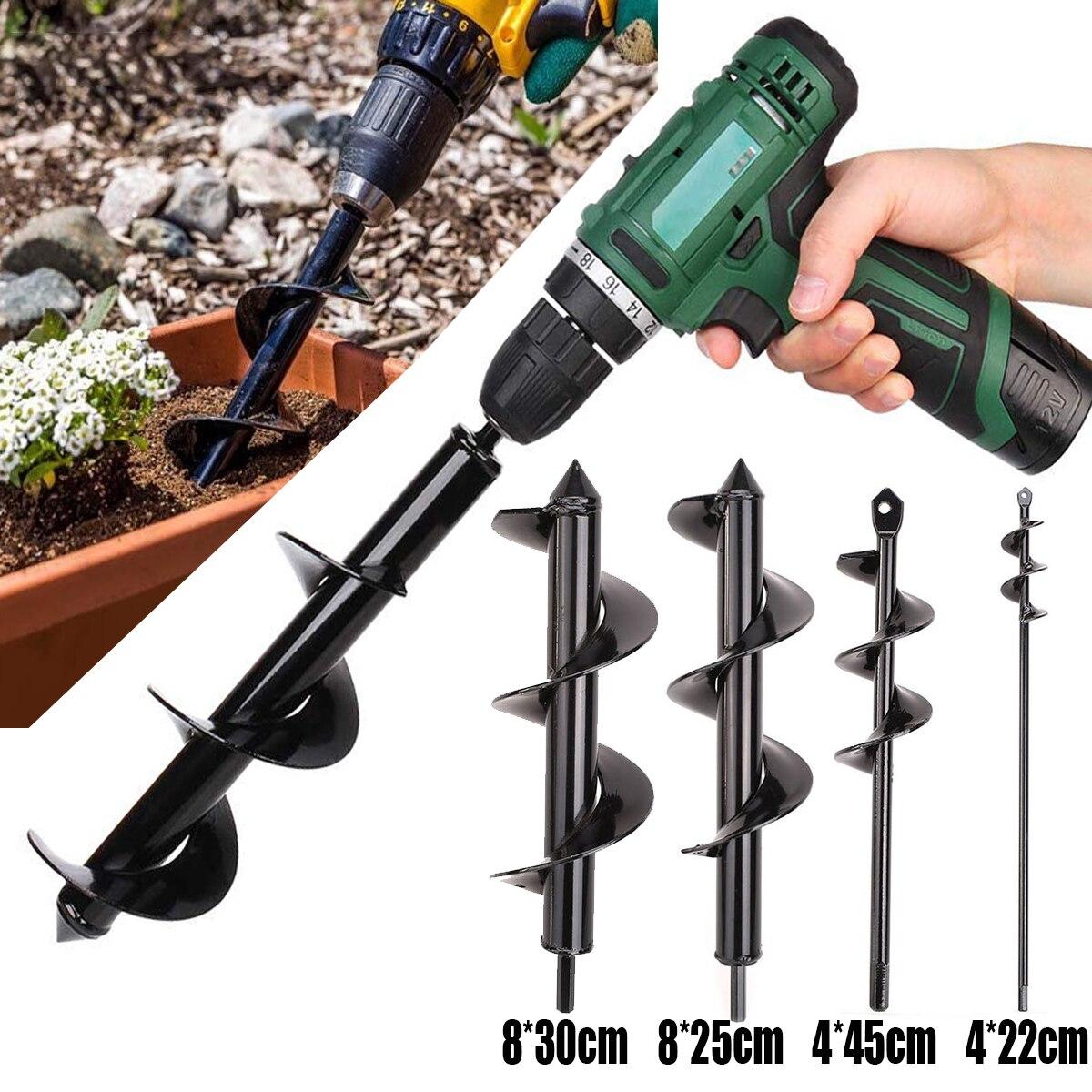 Garden Auger Spiral Drill Bit Roto Flower Planter Bulb HEX Shaft Drill Auger Yard Gardening Bedding Planting Hole Digger Tool